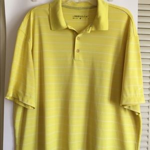 Nike Golf Men's XL Dri Fit yellow stripe polo